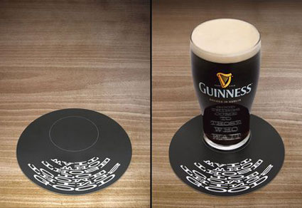 Guinness Coaster Good Things Come From Clever Optics
