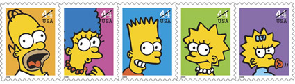 simpsons-postage stamps