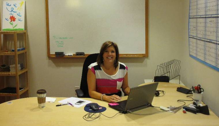 ePromos' Sheila Johnshoy in her new office