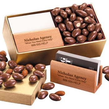 promotional business card holder with chocolate almonds