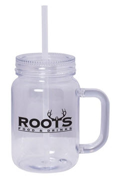 Mason jar imprinted mug with matching straw