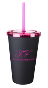 Matte Double Wall Custom Tumbler w/ Straw - 16 oz.