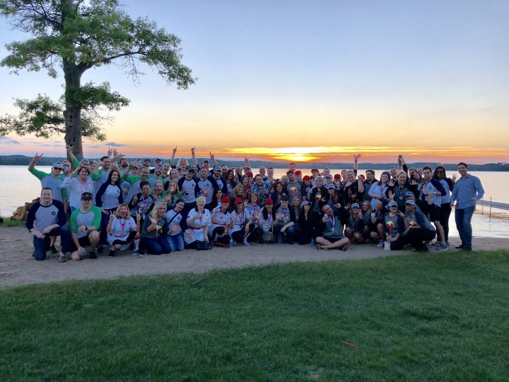 ePromos team enjoying the sunset at Maddens Resort after a team-building scavenger hunt around the property.