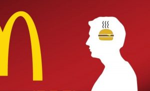 See the McDonald's arches, think hamburger