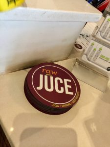 Raw Juce Promotional Magnets Left at Checkout Counter